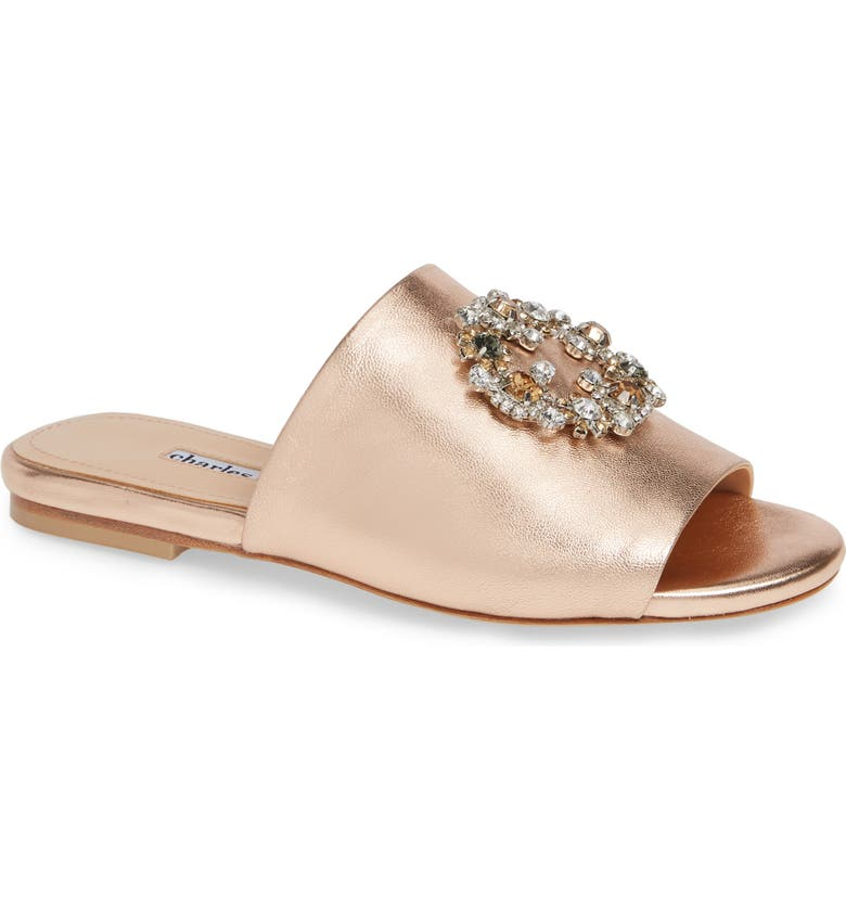 CHARLES DAVID Soleil Slide Sandal, Main, color, ROSE LEATHER
