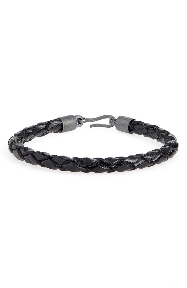CAPUTO & CO. Braided Leather Bracelet, Main, color, BLACK