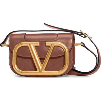 Valentino Garavani Small Supervee Calfskin Leather Shoulder Bag - Brown