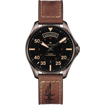 Hamilton Khaki Aviation Automatic Leather Strap Watch, 42mm