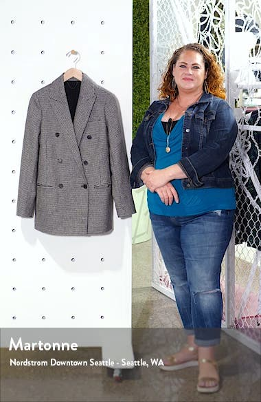 Astrid Puppytooth Check Double Breasted Wool Blend Blazer, sales video thumbnail