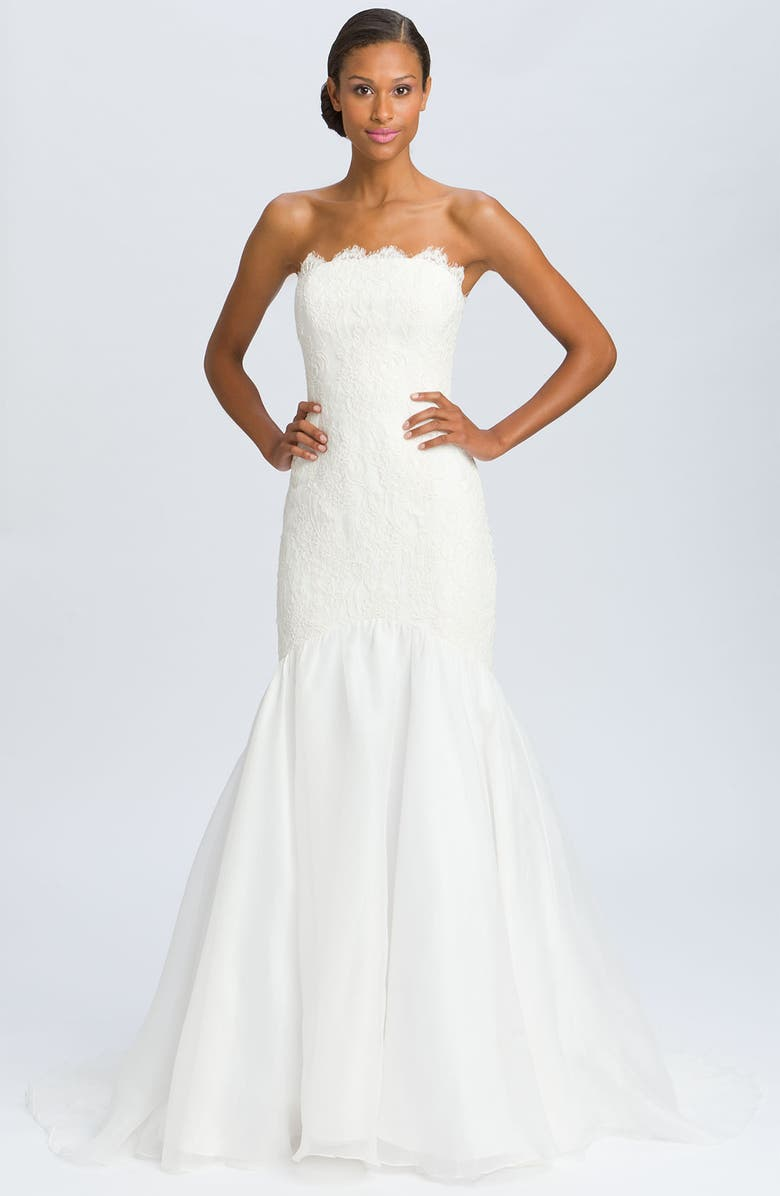 THEIA Lace Overlay Strapless Mermaid Gown, Main, color, 900