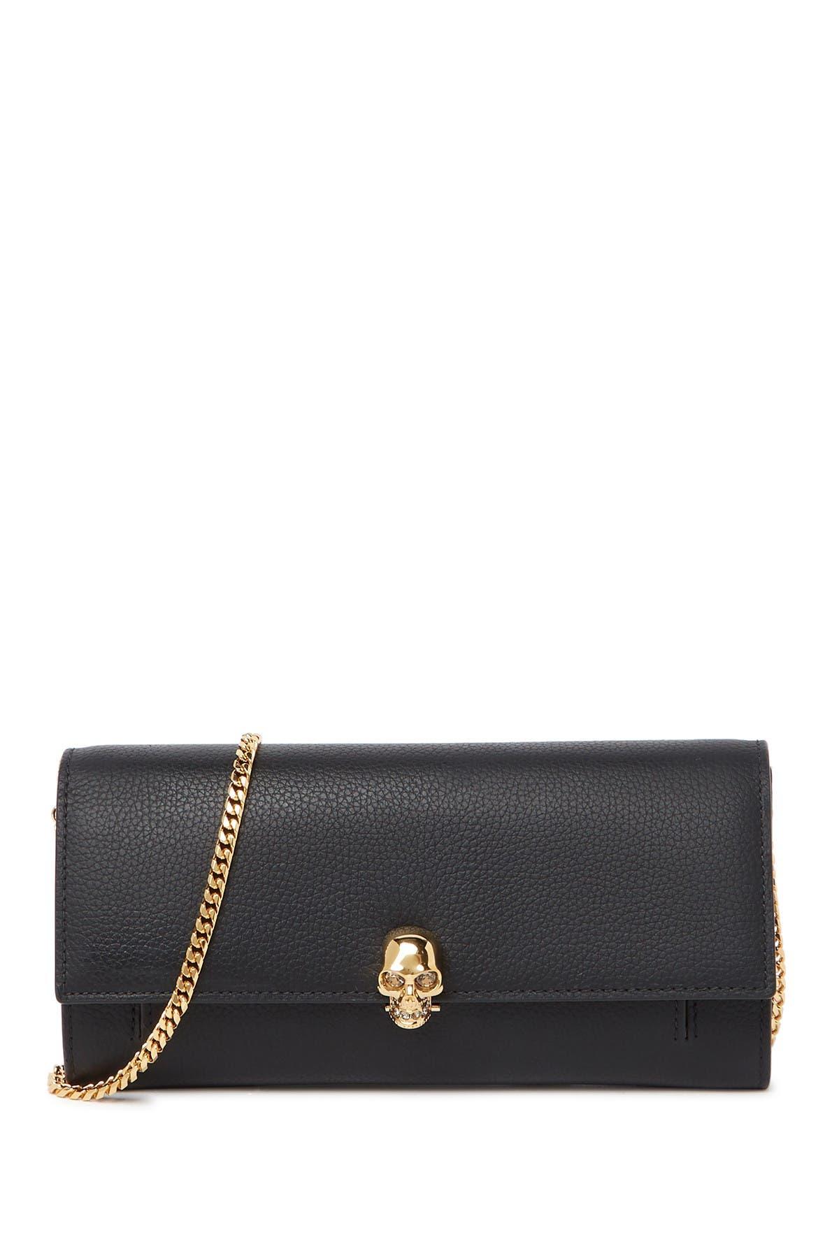 Image of Alexander McQueen Small Grain Leather Crossbody Wallet