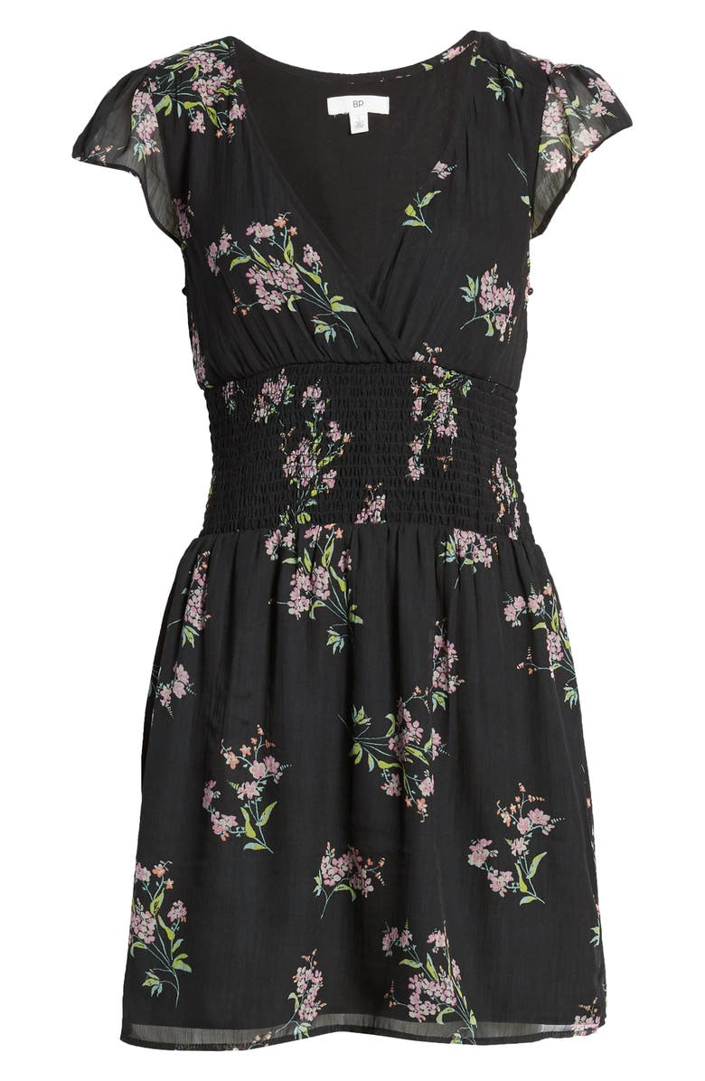BP. Smocked Waist Chiffon Minidress, Main, color, 001