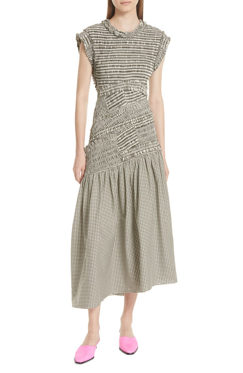 3.1 PHILLIP LIM Gathered Gingham Drop Waist Dress, Main, color, 033