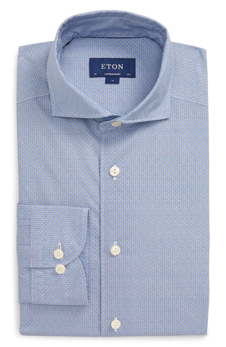 ETON Soft Collection Contemporary Fit Geo Print Dress Shirt, Main, color, BLUE