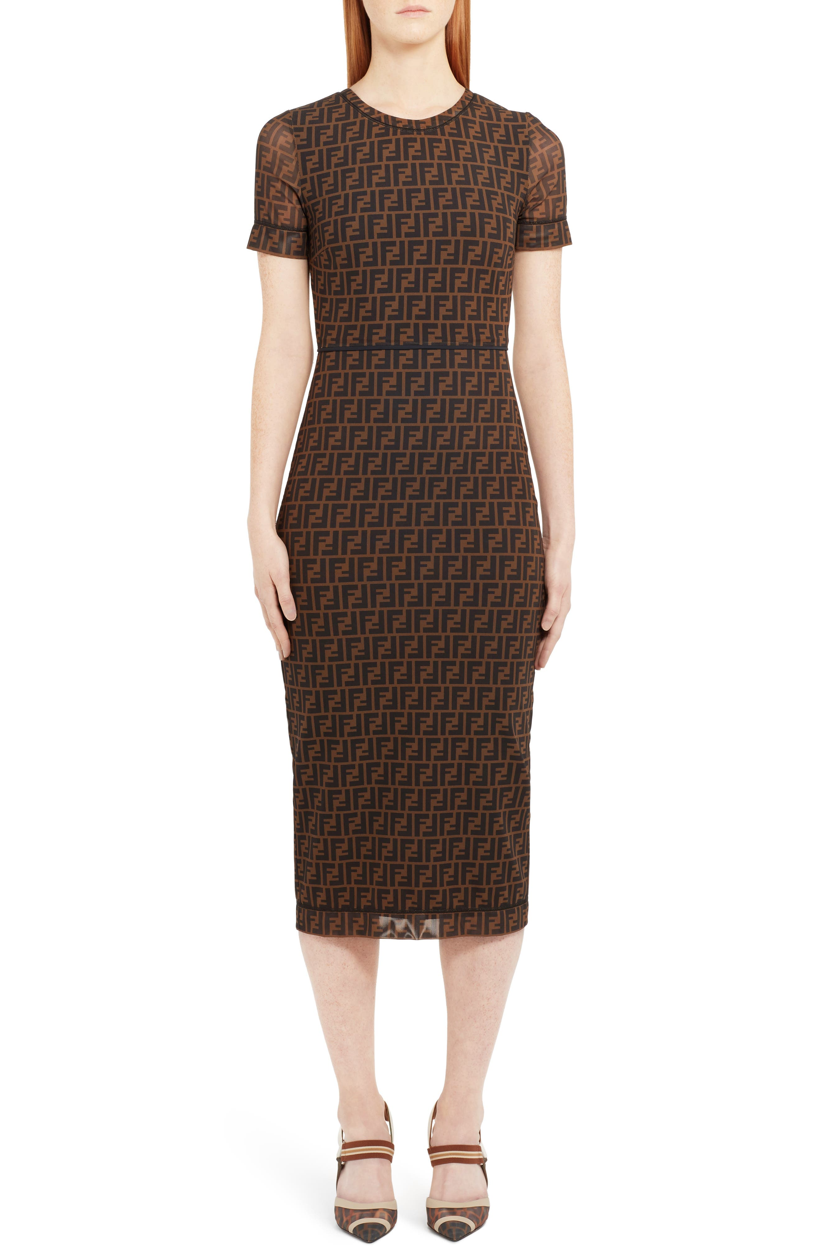 Fendi Sheer Sleeve Logo Pattern Midi Dress, US / 44 IT - Brown