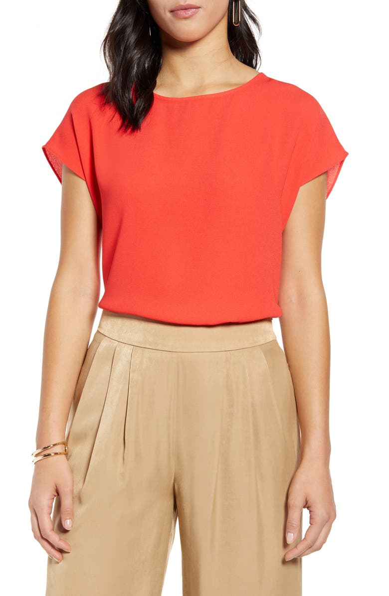 HALOGEN<SUP>®</SUP> Cap Sleeve Blouse, Main, color, RED BITTERSWEET
