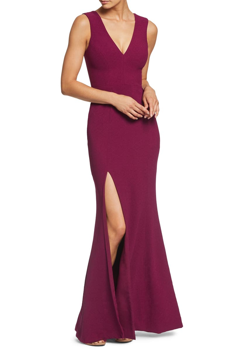 DRESS THE POPULATION Sandra Plunge Crepe Trumpet Gown, Main, color, DARK MAGENTA
