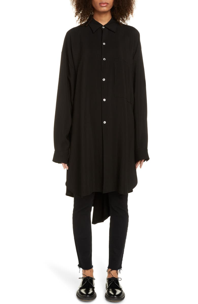 Y'S BY YOHJI YAMAMOTO Long Sleeve Shirt Dress, Main, color, BLACK