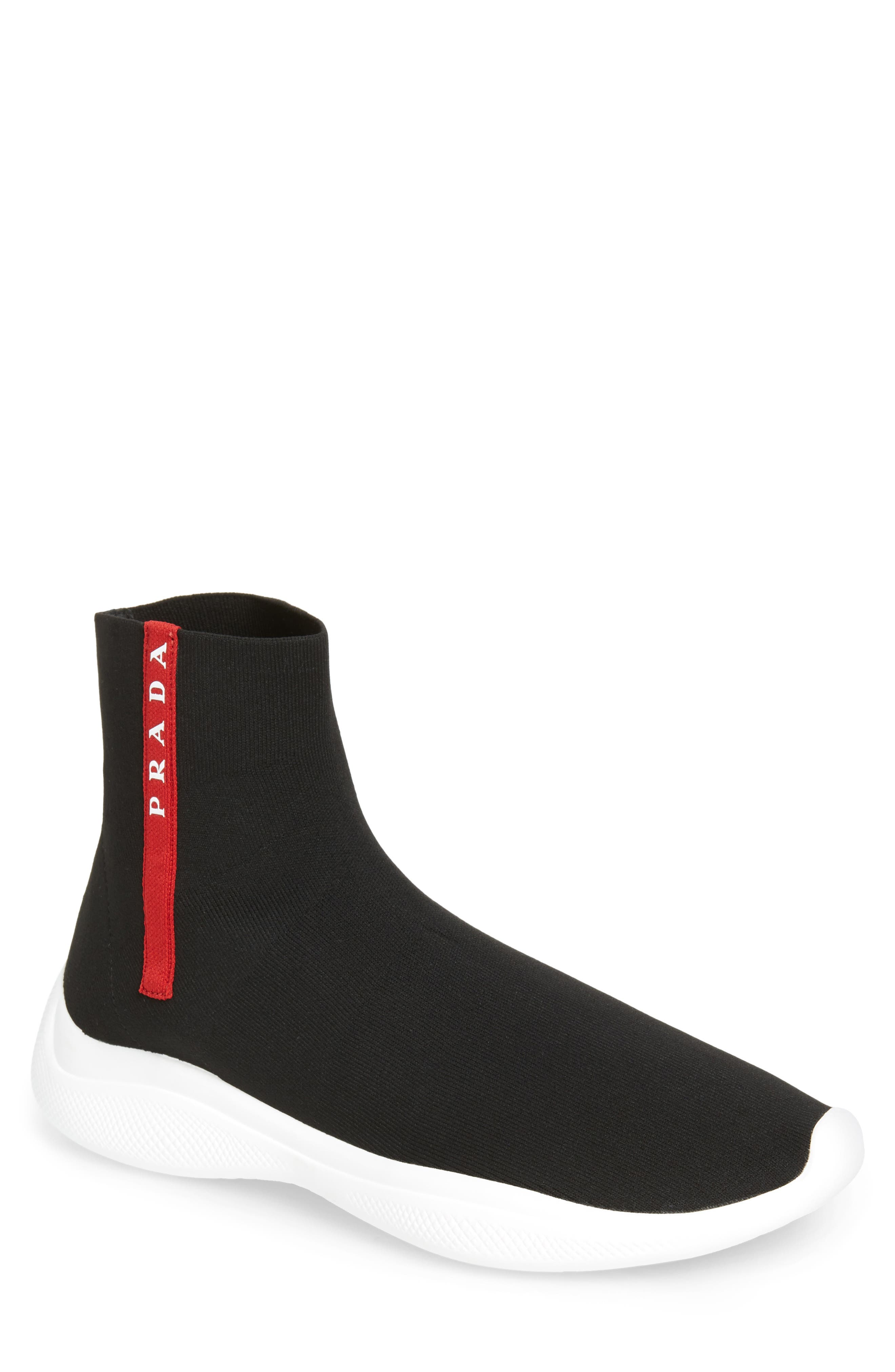 Prada Logo Band Sock Sneaker (Men