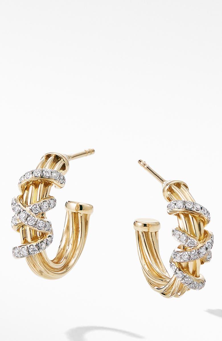 10ce8ae907eb1 David Yurman Helena Small 18K Yellow Gold Hoop Earrings with ...