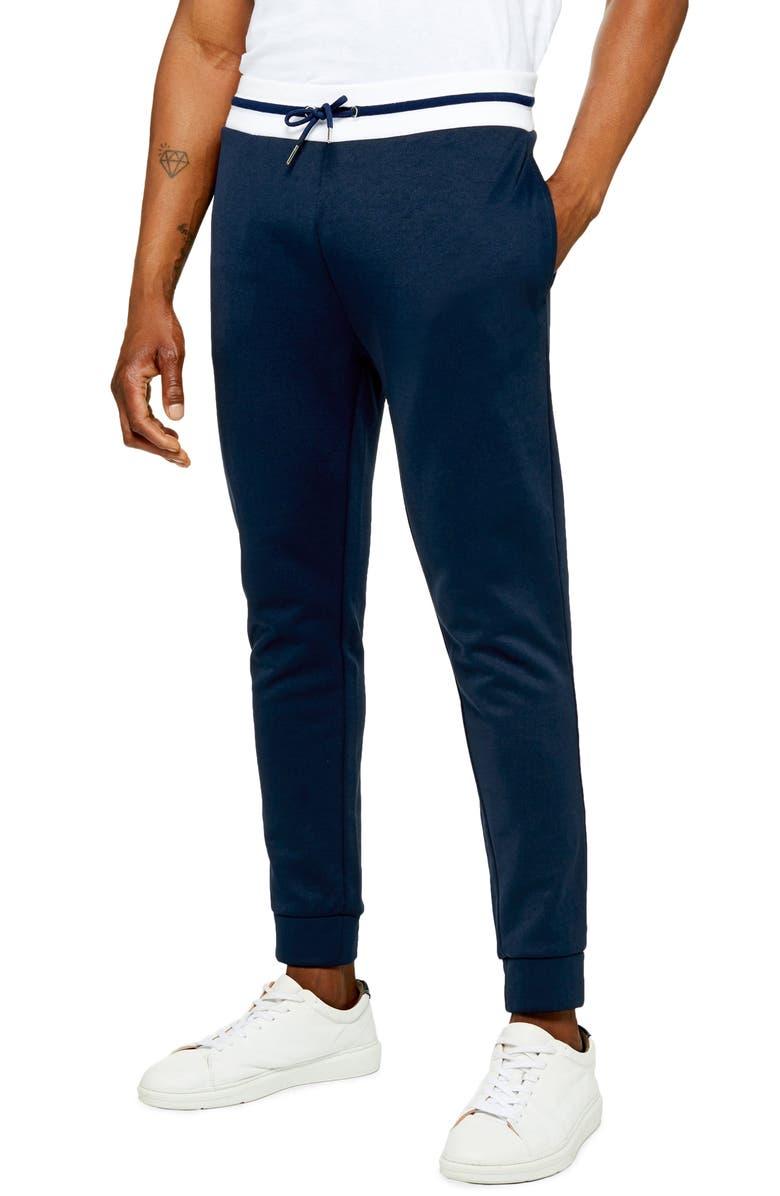 TOPMAN Tricot Jogger Pants, Main, color, NAVY MULTI