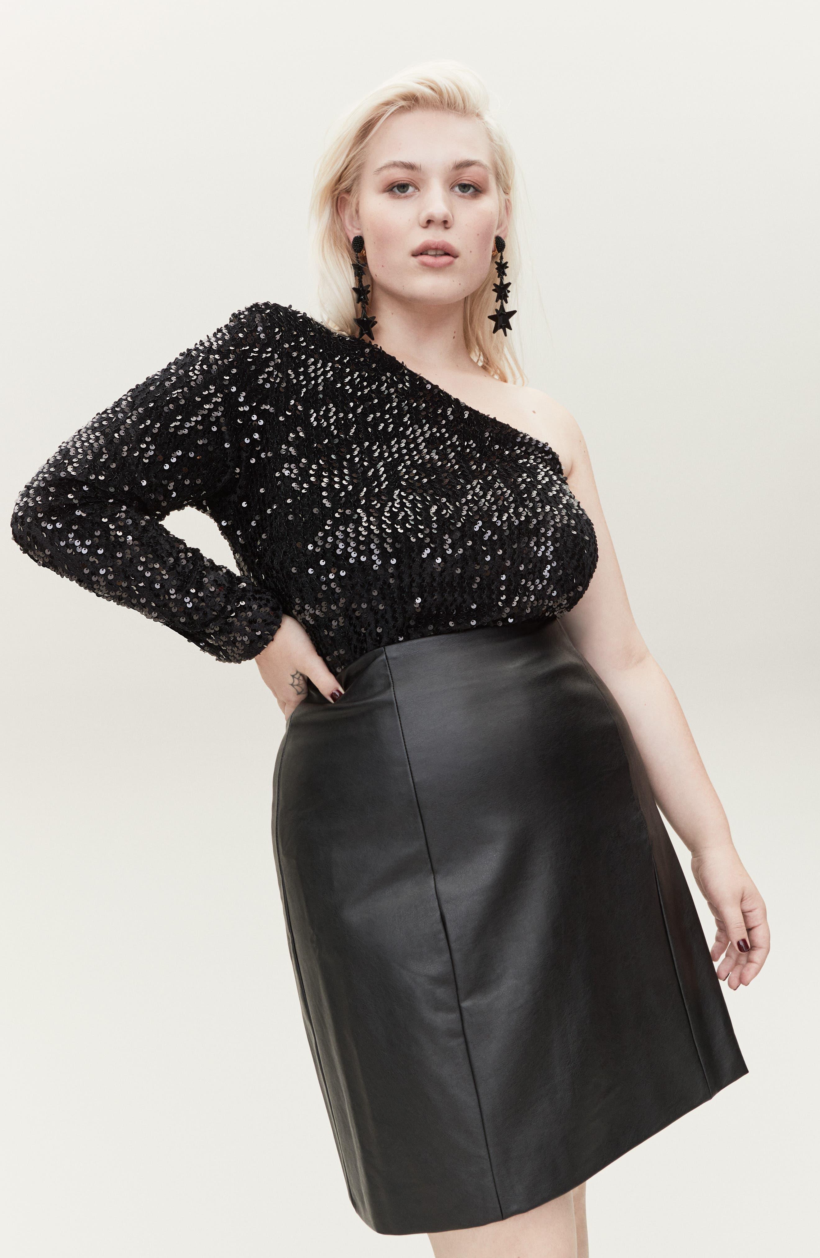,                             Disco Fever One-Shoulder Sequin Top,                             Alternate thumbnail 6, color,                             BLACK