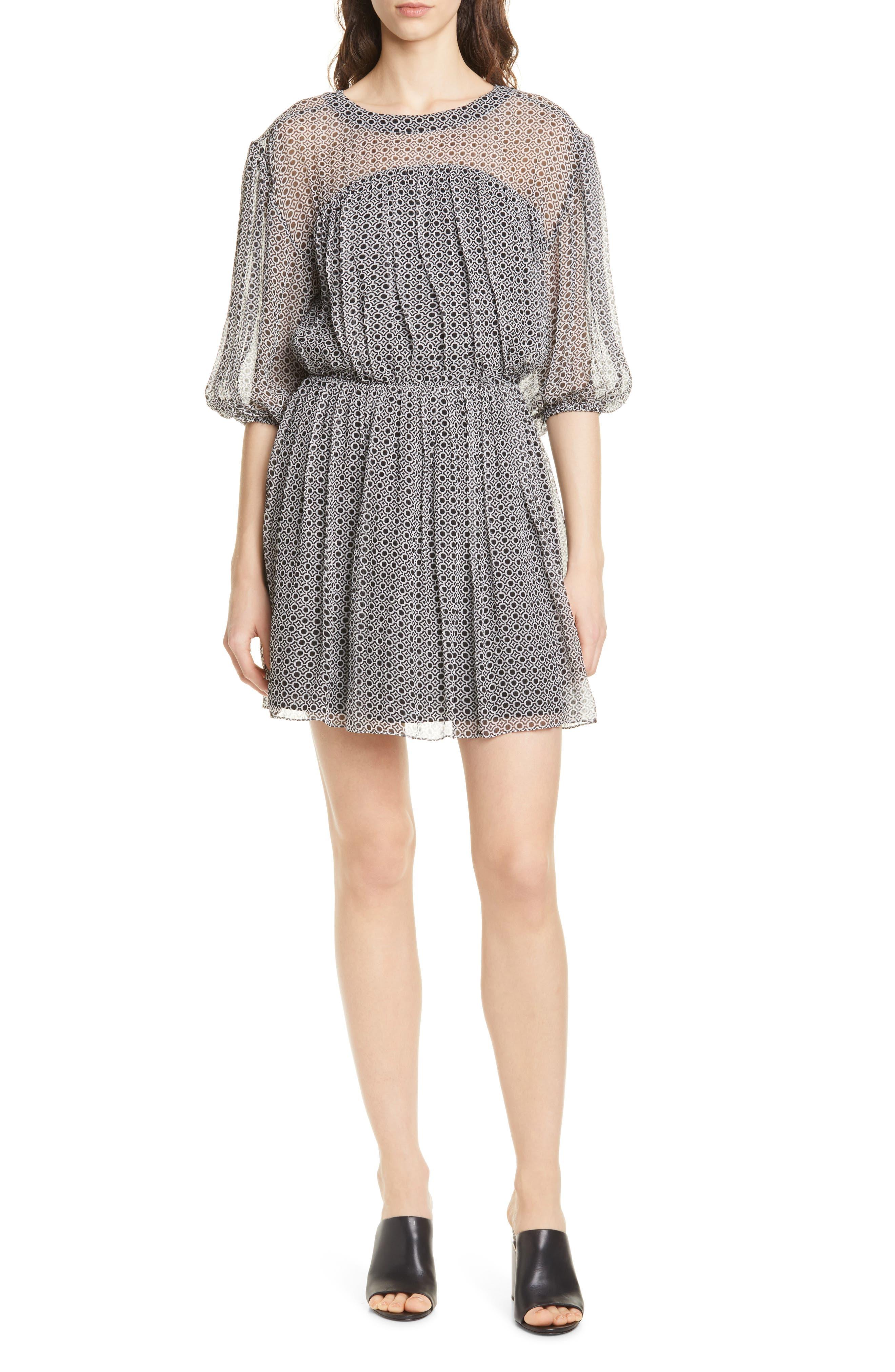 Joie Andora Geo Print Silk Chiffon Dress, Black