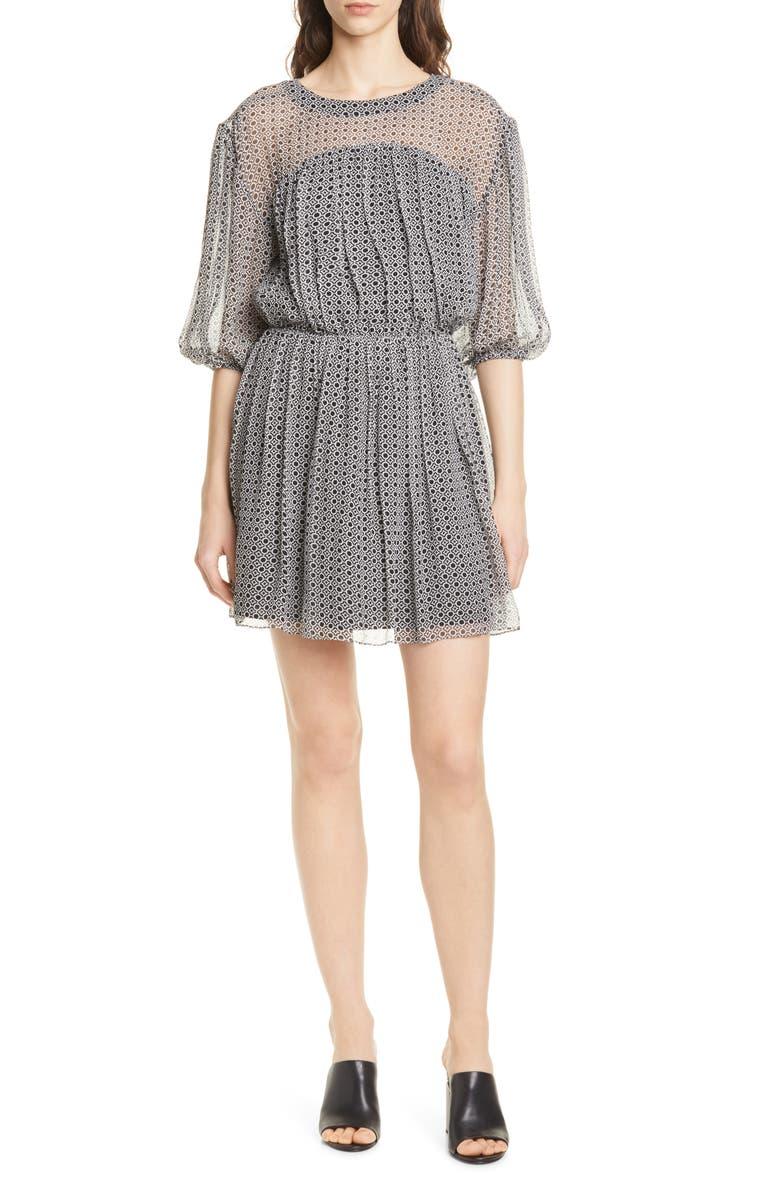 Joie Andora Geo Print Silk Chiffon Dress