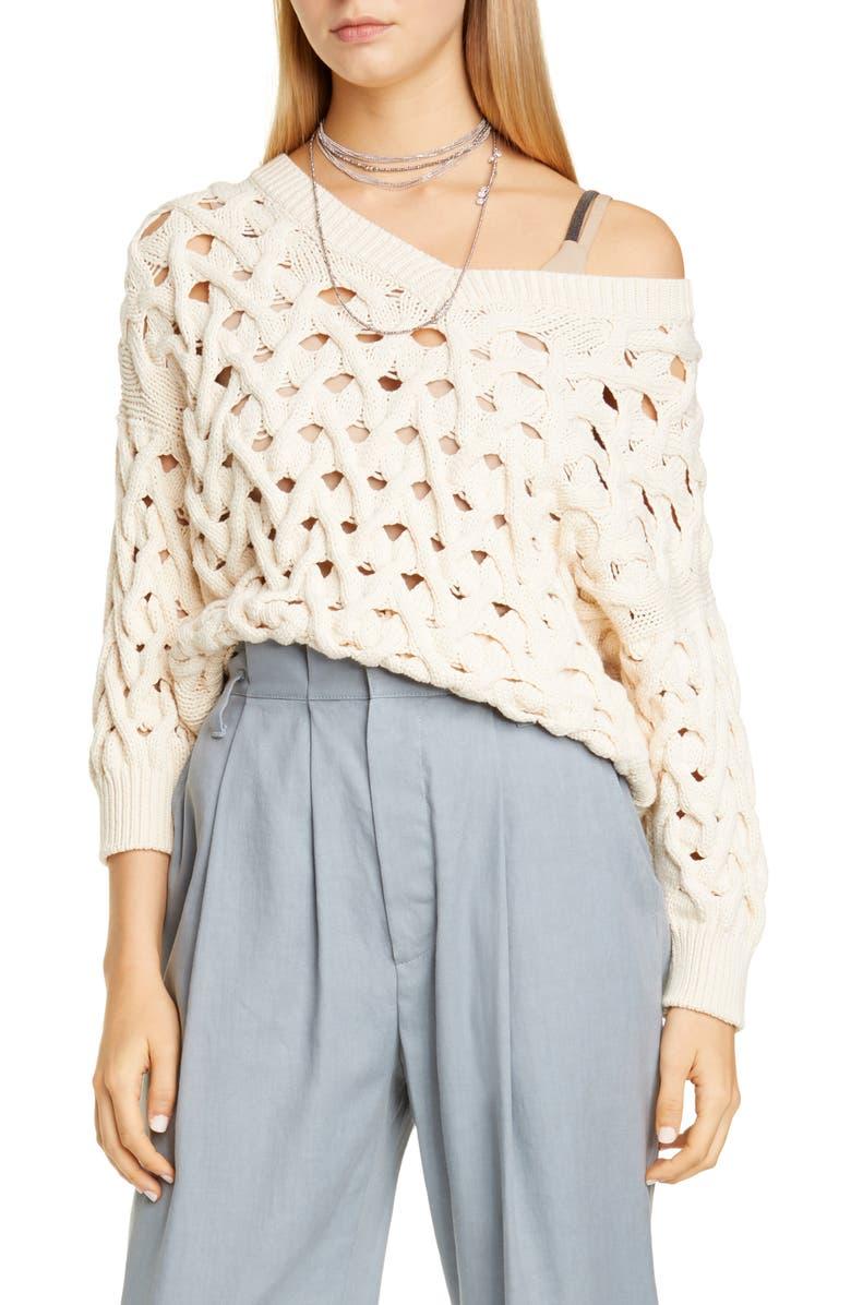 BRUNELLO CUCINELLI Cable Cotton & Nylon Sweater, Main, color, 250