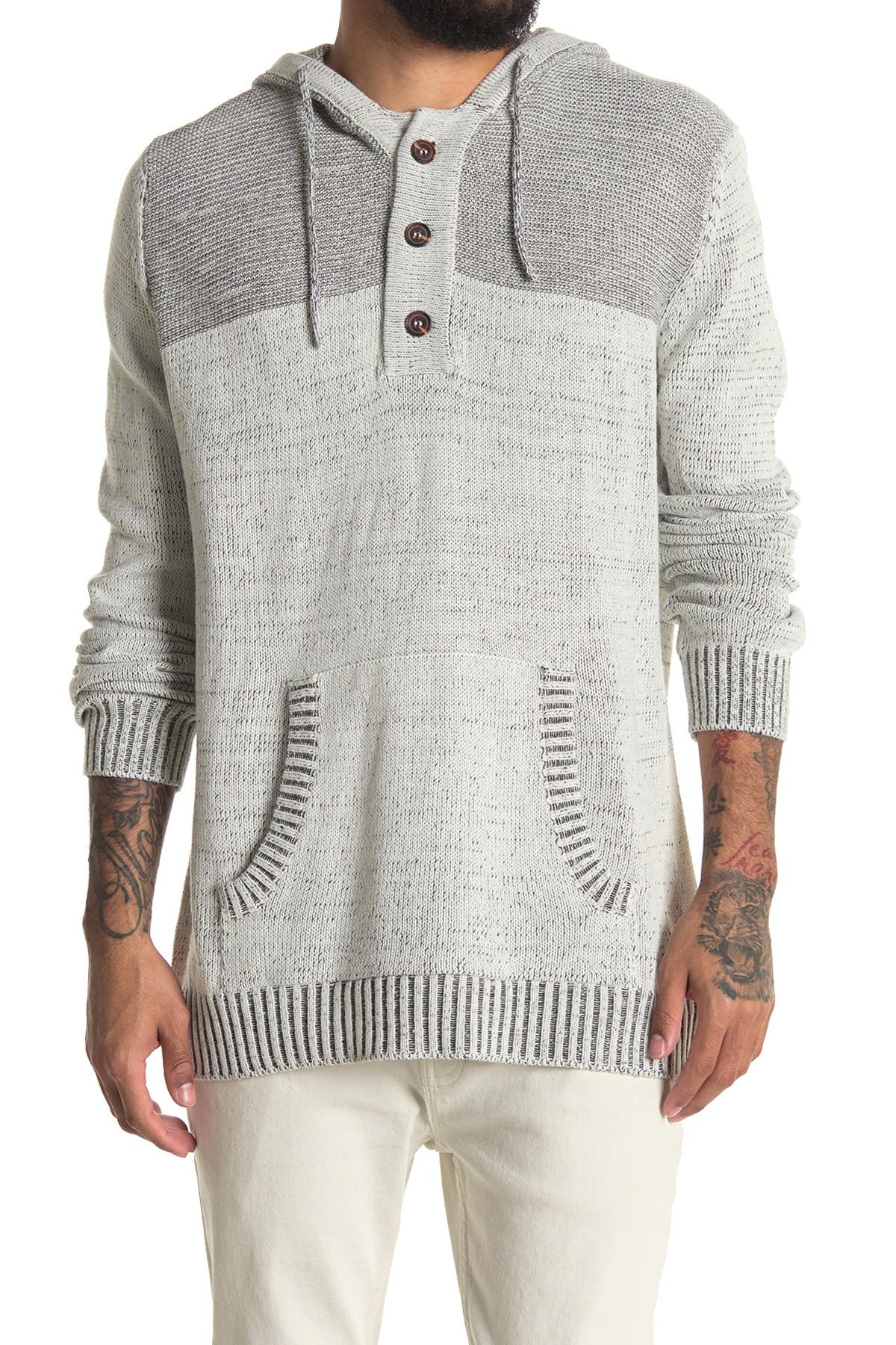 Image of HEDGE Plated Yarn Henley Hoodie