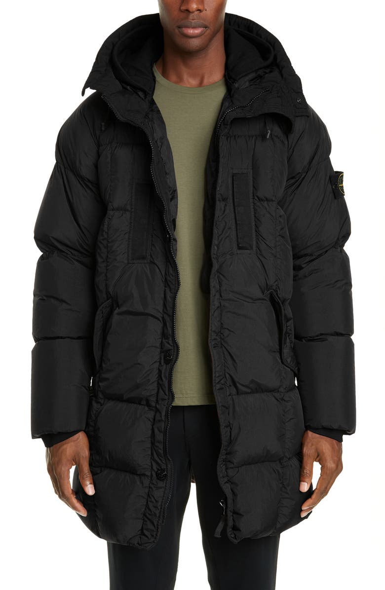 STONE ISLAND Hooded Down Puffer Jacket, Main, color, BLACK