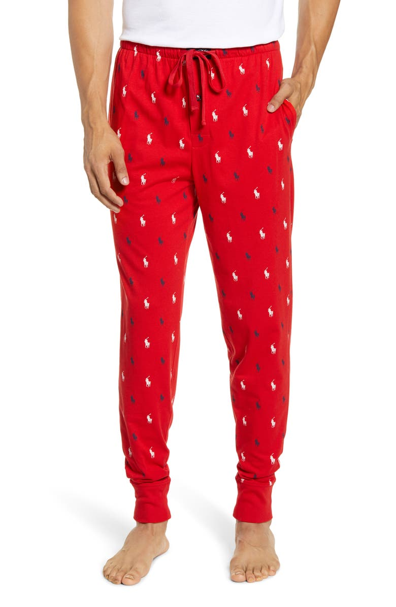 POLO RALPH LAUREN Knit Jogger Pajama Pants, Main, color, RED