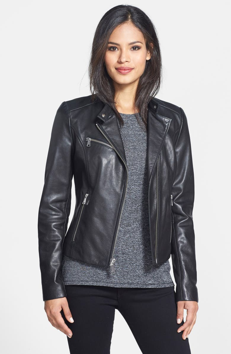 ANDREW MARC 'Caitlyn' Leather Moto Jacket, Main, color, 001