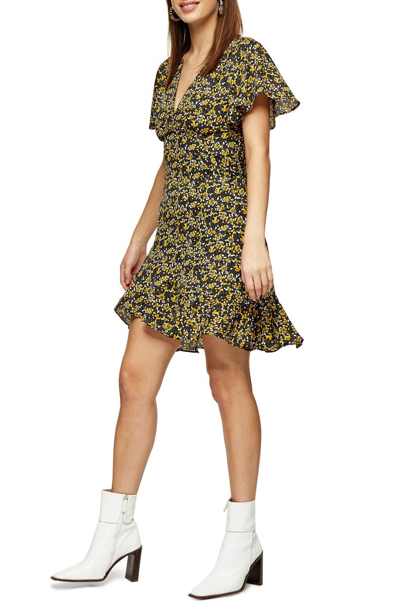 TOPSHOP IDOL Ditsy FLoral Tea Minidress, Main, color, YELLOW MULTI