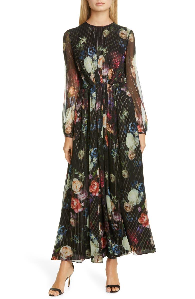 ADAM LIPPES Metallic Floral Long Sleeve Silk Blend Maxi Dress, Main, color, 001