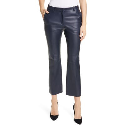 Boss Sitrompete Leather Flare Pants, Blue