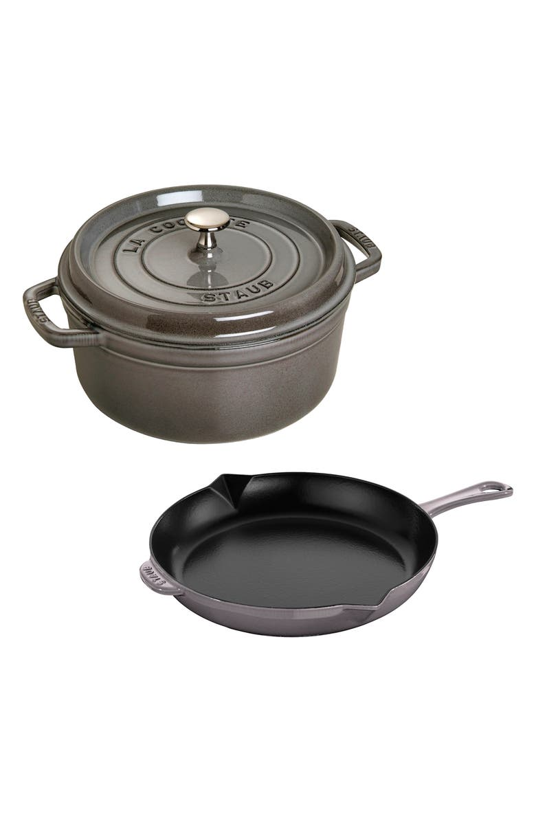 STAUB 3-Piece Enameled Cast Iron Cookware Set, Main, color, GRAPHITE