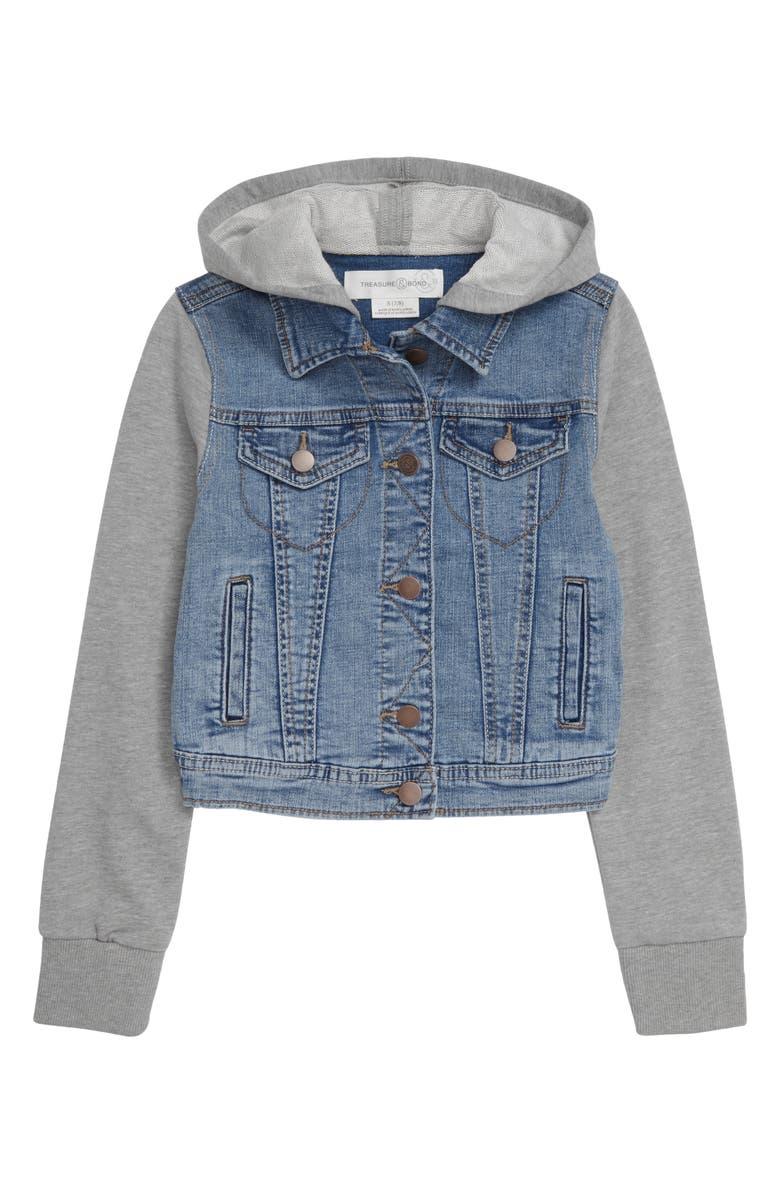 TREASURE & BOND Kids' Hooded Denim Jacket, Main, color, VINTAGE WASH