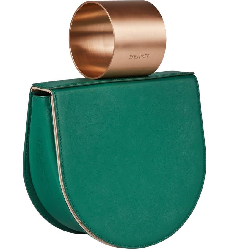 D ESTREE D'Estrëe Mini Lucio Cuff Handle Leather Bag, Main, color, GREEN