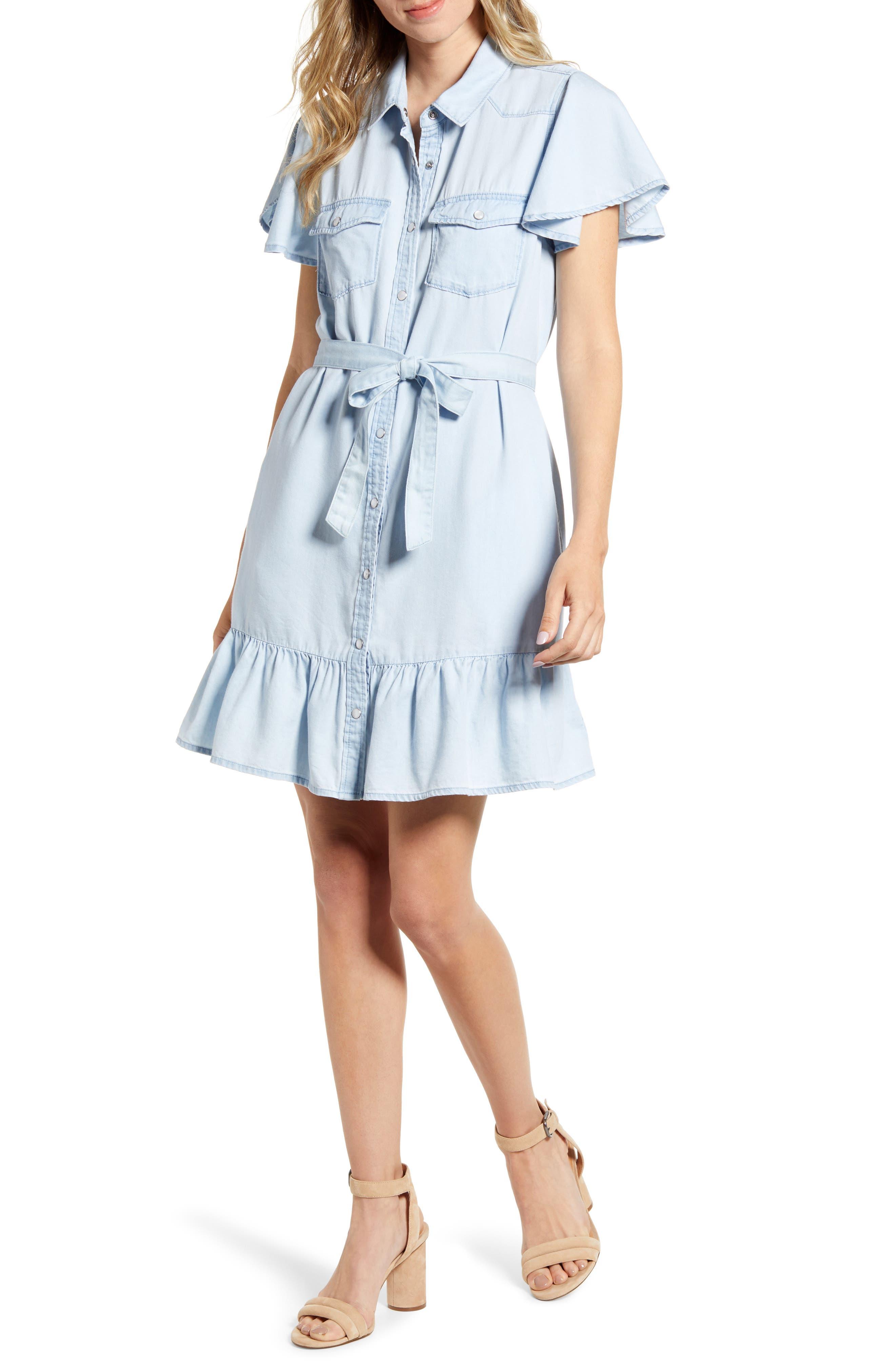 Paige Callan Ruffle Chambray Dress, Blue