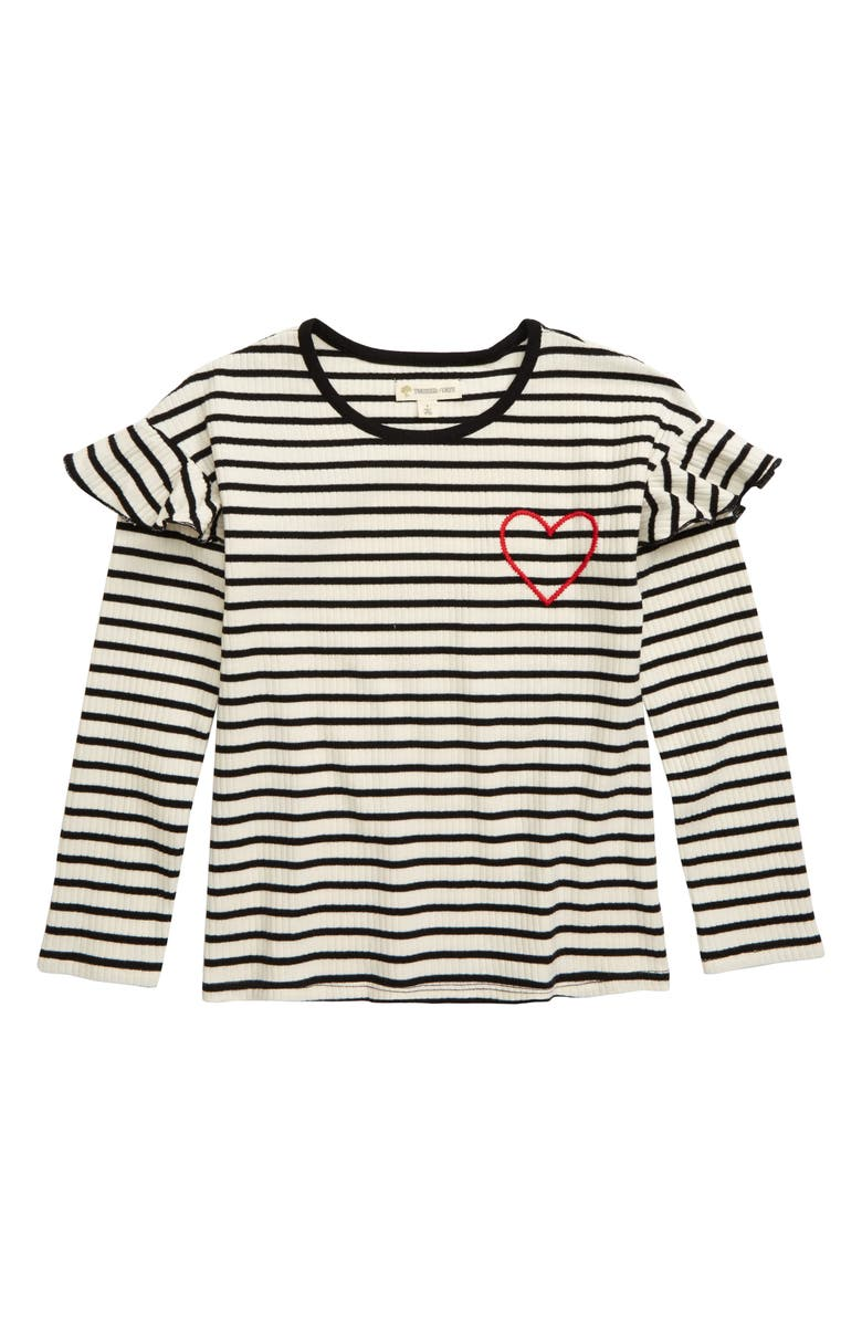 TUCKER + TATE Ruffle Sleeve Tee, Main, color, IVORY EGRET- BLACK STRIPE