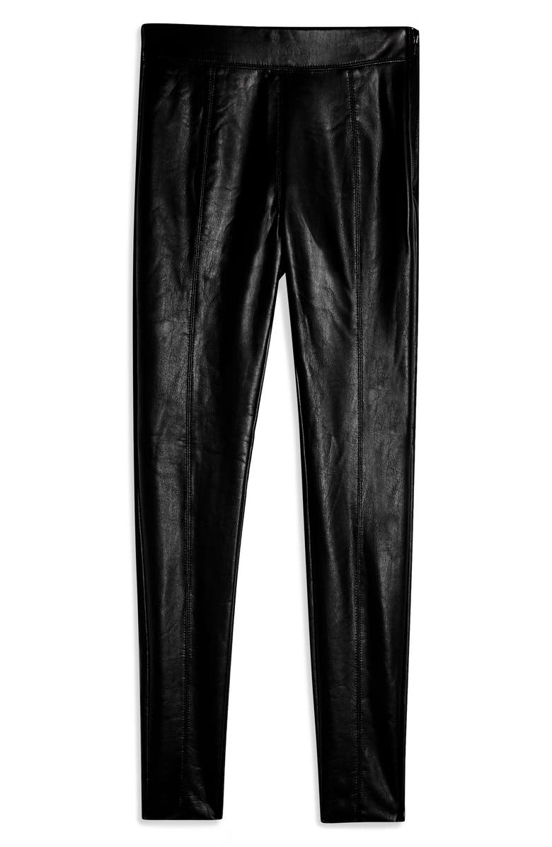 TOPSHOP Piper Faux Leather Skinny Leggings, Alternate, color, BLACK