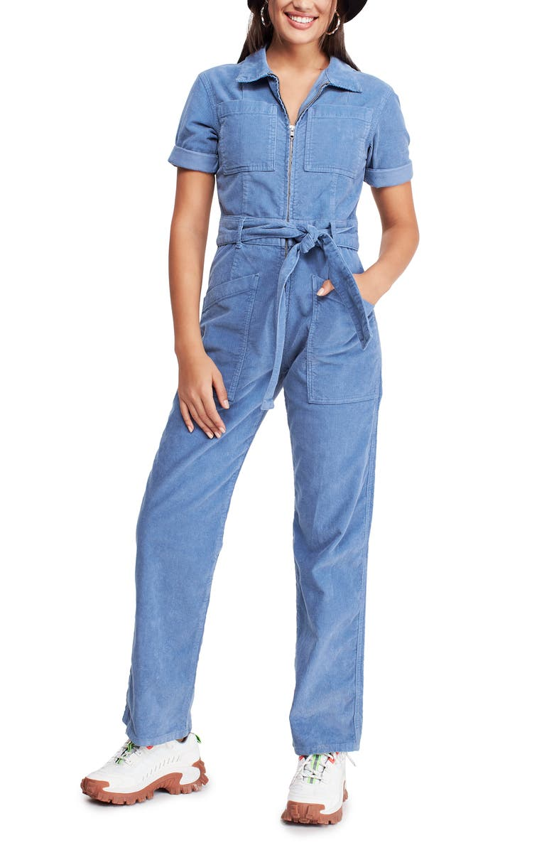 BDG Urban Outfitters Belted Corduroy Jumpsuit, Main, color, BLUE