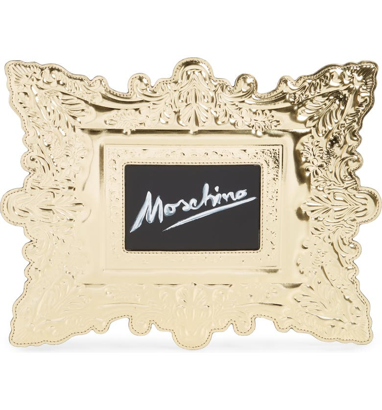 MOSCHINO Faux Leather Frame Clutch, Main, color, 710
