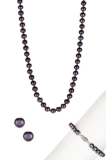 Image of Splendid Pearls 7-8mm Black Cultured Freshwater Pearl Necklace, Bracelet, & Earrings Set