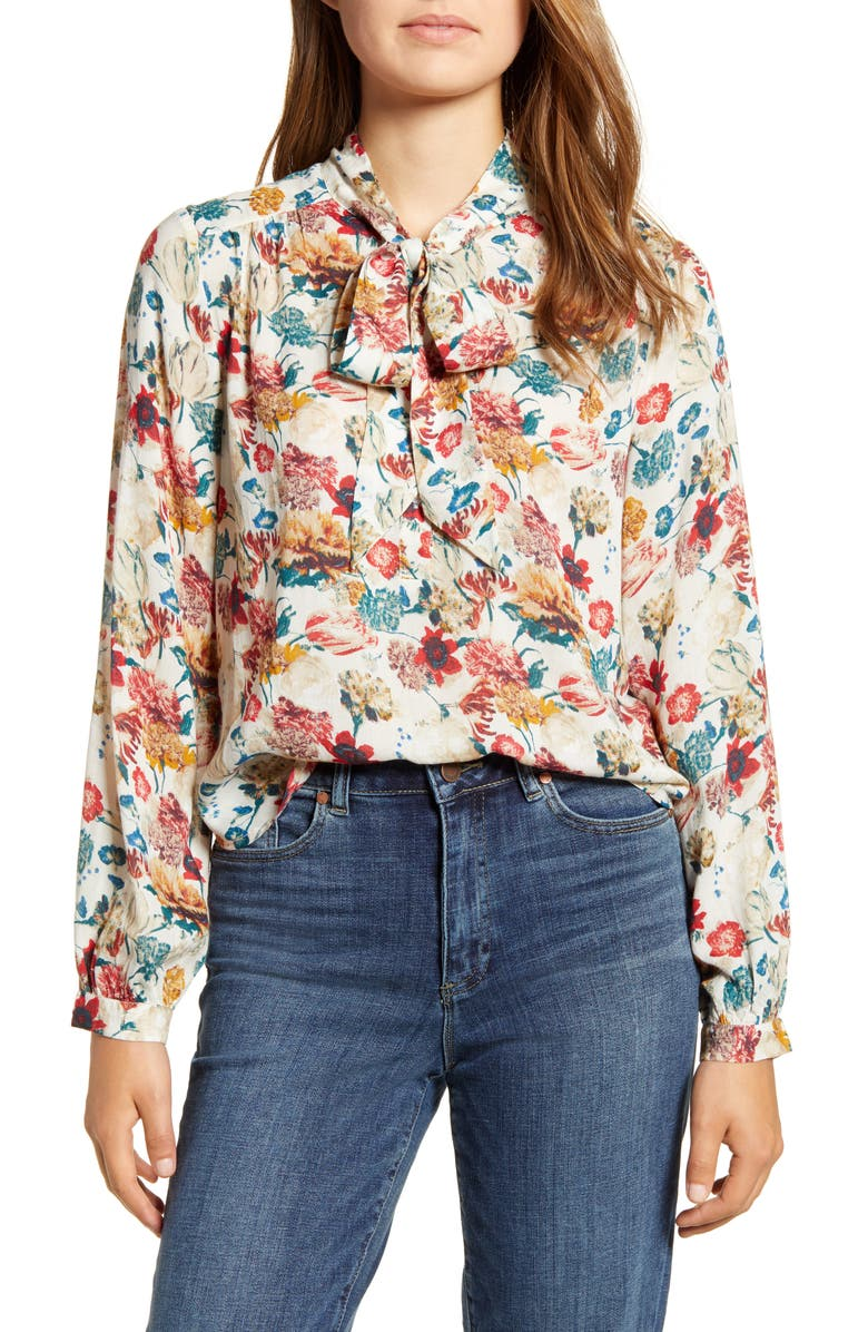 LUCKY BRAND Ava Floral Tie Neck Blouse, Main, color, 600