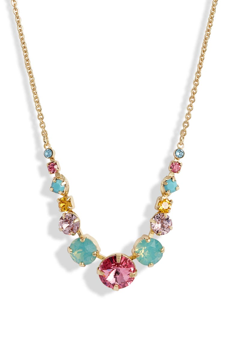 SORRELLI Delicate Round Crystal Frontal Necklace, Main, color, BRIGHT GOLD TONE BRIGHT