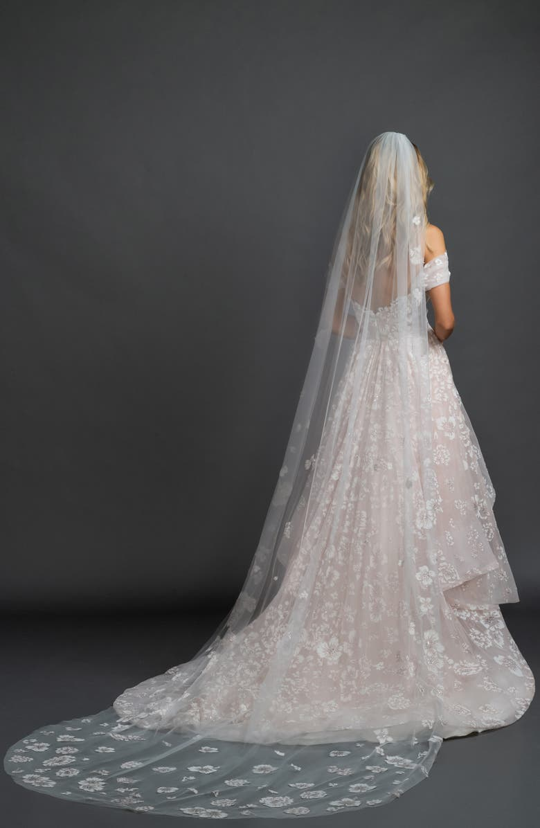 HAYLEY PAIGE Caviar Floral Cathedral Veil, Main, color, IVORY