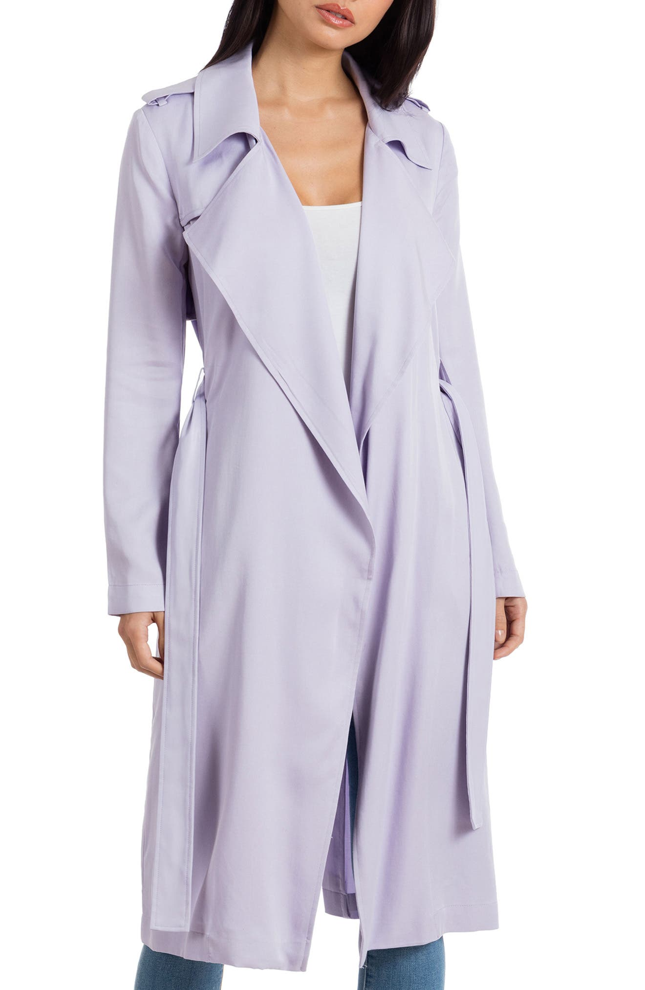 ,                             Badgley Mischka Faux Leather Trim Long Trench Coat,                             Main thumbnail 31, color,                             530