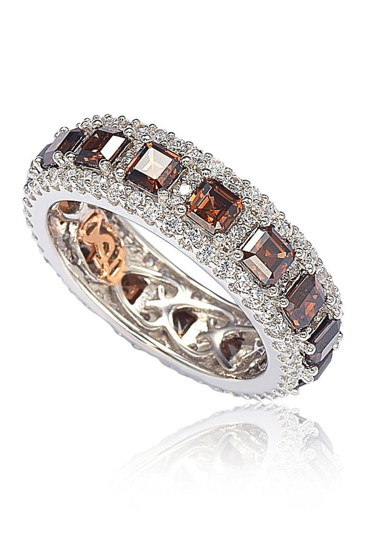 Image of Suzy Levian Sterling Silver Asscher Cut Brown & White CZ Ring