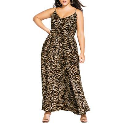 Plus Size City Chic Leopard Love Maxi Dress, Black