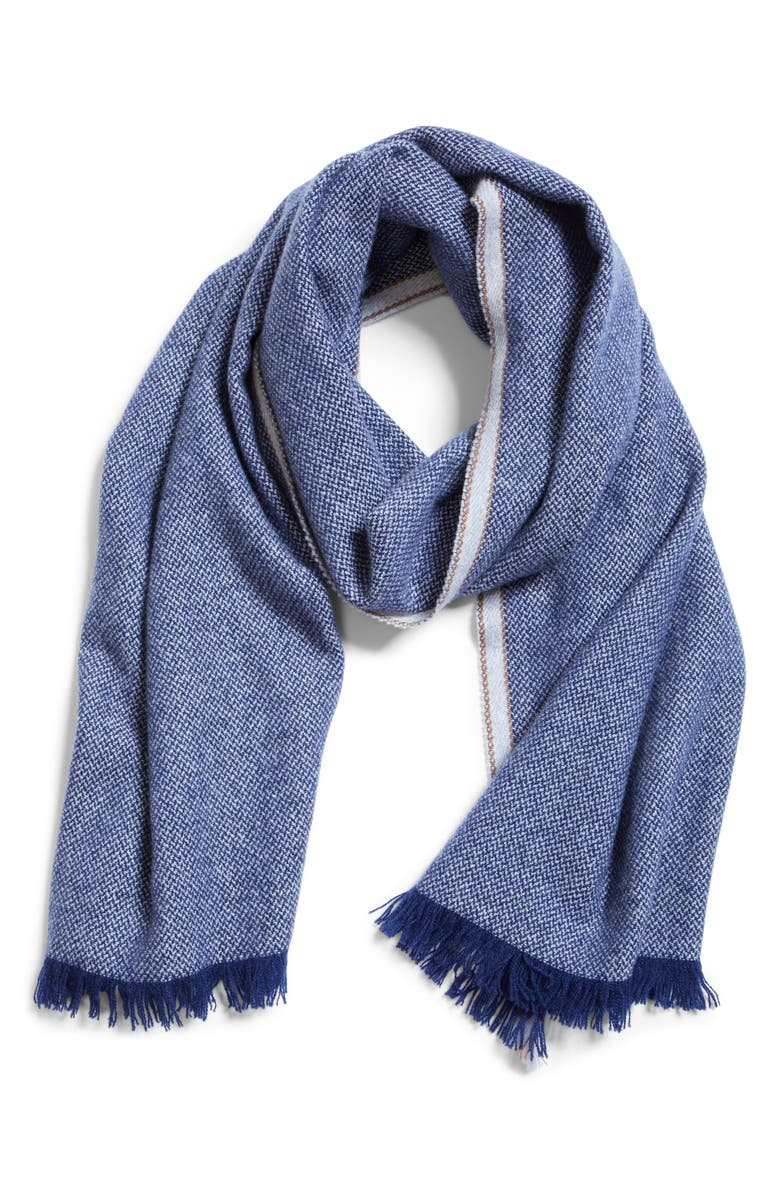 BRUNELLO CUCINELLI Cashmere Scarf, Main, color, BLUE MARINE