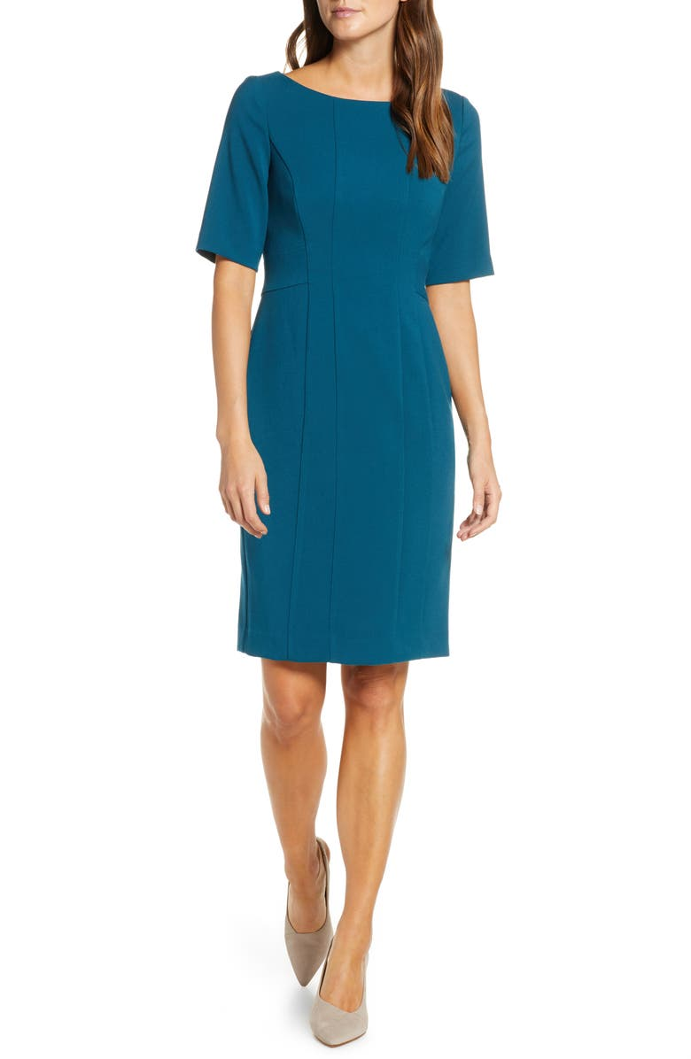 ELIZA J Bateau Neck Crepe Sheath Dress, Main, color, TEAL