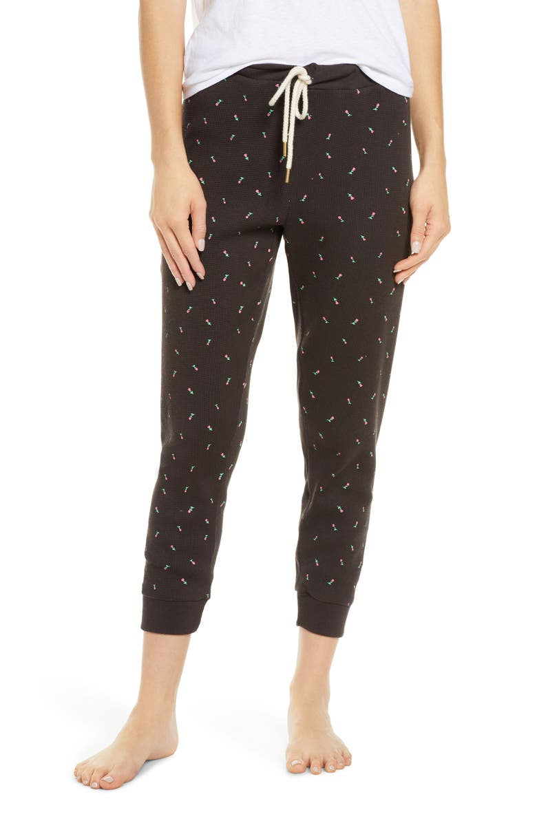 THE GREAT. The Cropped Thermal Lounge Pants, Main, color, 001