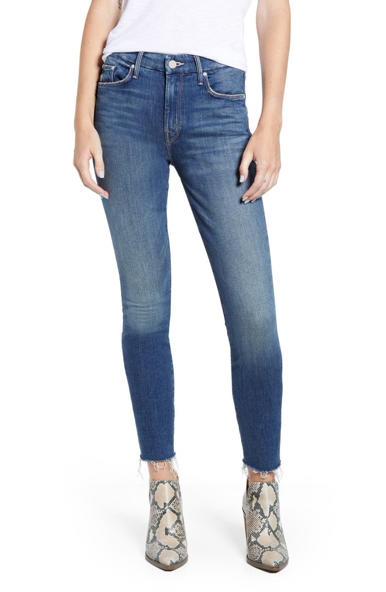 MOTHER The Looker High Waist Fray Ankle Skinny Jeans, Main, color, GUTTERPUNK