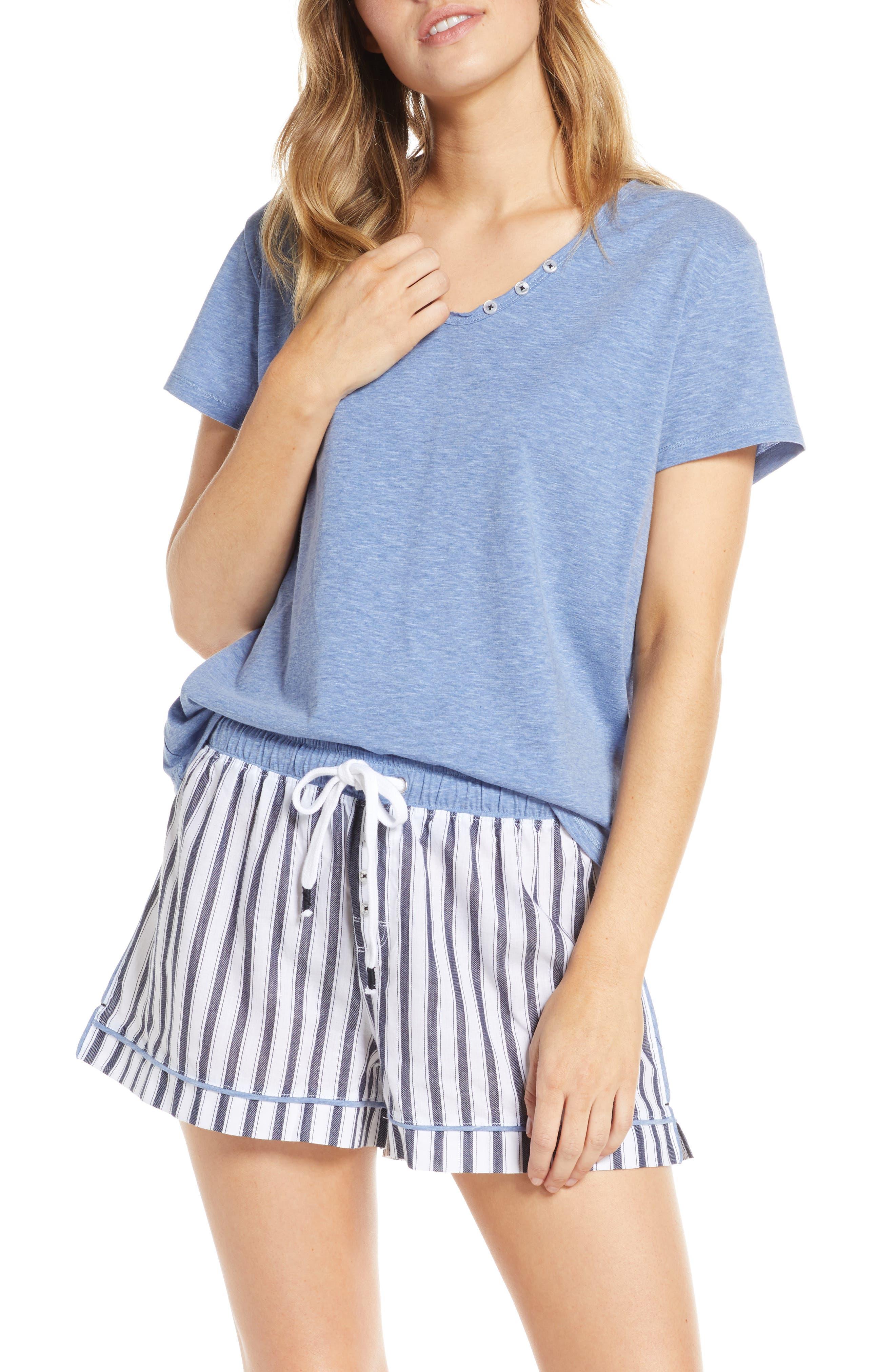 Splendid Raw Edge Pajama Tee, Blue