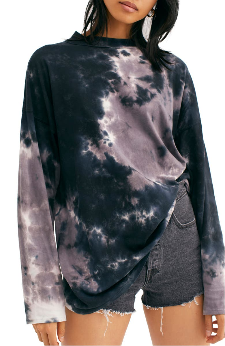 FREE PEOPLE Be Free Tie Dye Tee, Main, color, CHARCOAL COMBO