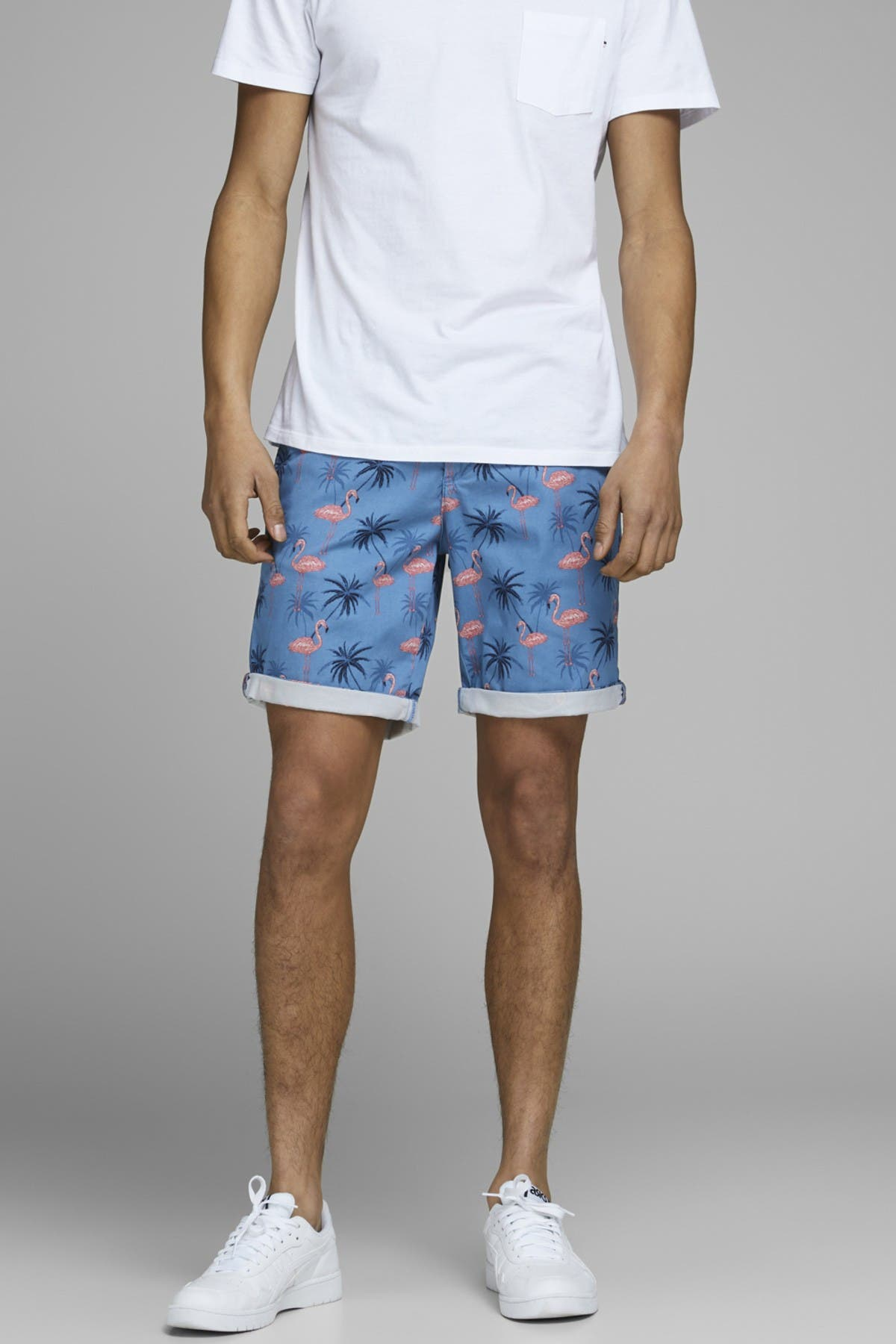 Image of JACK & JONES Bowie Cuffed Tropical Print Chino Shorts